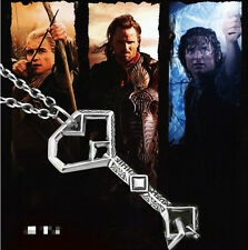 Lord of the rings Hobbit oak shield film Vintage key Silver leather necklace