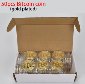 50pc Gold Plated Bitcoin medal/coin Collectible BTC Coins Cryptocurrency Metal