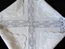 VINTAGE UNUSED SUPERB HAND CROCHET SNOW-WHITE HEAVY COTTON TABLECLOTH