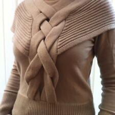 KAREN MILLEN BEIGE knit roll neck jumper top sz 3 medium 10 12 CAPE STYLE