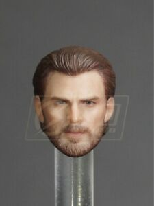 1:12 Scale Captain America Head Sculpt W/Beard Steve Rogers Fit 6'' Figure Dolls