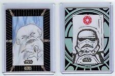 2015 Star Wars High TEK Sketch Card LOT - Stormtrooper 1/1 & Wampa 1/1 GET BOTH