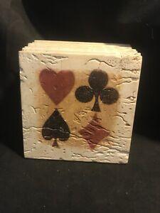 Set Of 7 ThirstyStone Sandstone Coasters Card Suit Heart Club Spade Diamond
