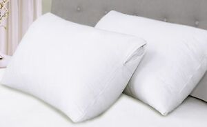 Luxury Pillow Protectors Zip 100% Cotton Poly Hotel Bed Quality Easy Care 4 Pack