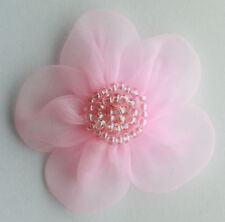 """5 Pieces Large Organza Flowers Sew On Appliques Size: 2""""  Colour: Pink  #2"""