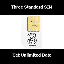New SIM Card On Three Network For All Smart Phones- 500 Mins Unl Text & Unl Data