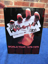 "Judas Priest U.S. Tour 1977 Metal Reproduction Sign 11 1/2"" X 8 1/4"""