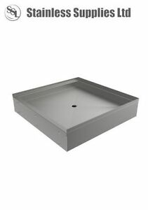 STAINLESS STEEL COMMERCIAL FLOOR STANDING SHOWER TRAY 900 x 900 x 170