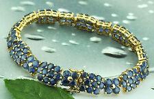 Antique Vintage 14k Solid Yellow gold Natural Sapphire Bracelet 11.60 ct