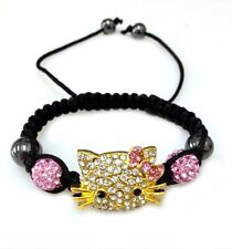 Hello Kitty Handmade Homans Girls Black Shamballa Bracelet
