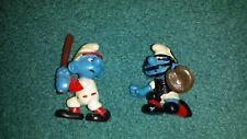 Smurf Baseball Batter Catcher 20146 20129 RUGBY Peyo Schleich 1981 2 smurfs RARE