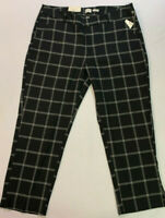 WOMENS SIZE 16R SLIM ANKLE MID-RISE STRETCH BLACK PLAID PANTS A NEW DAY, POCKETS