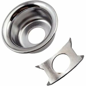 """Chrome Recessed """"Cup"""" Jack Plate for Fender Tele® Telecaster Squier Guitar Input"""