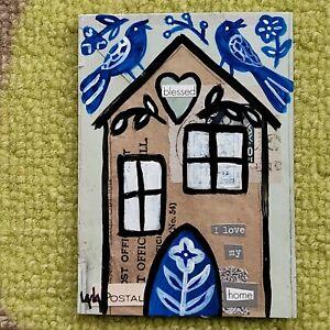 ORIGINAL ACEO Folk Art Home House Bird Heart Love Blessed Flower Vine Collage