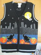 Halloween White Stage Embellished Pumpkins, Cats &  Witch size MED 8-10  ZipVest