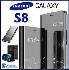 COVER FLIP PER SAMSUNG GALAXY S8 CUSTODIA LIBRO NERA A SPECCHIO CLEAR VIEW 360°