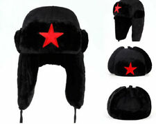 Red Star Black Bomber Hat Outdoor Winter Russian Ear Flap Warm Casual Ushanka