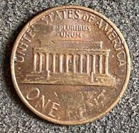 1981 lincoln cent Error, Struck Thru Grease On Reverse