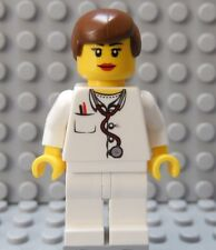 LEGO Girl Female Doctor Nurse White Torso and Legs Short Brown Hair