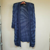 Travelers by Chico's Women's Cardigan Sweater Open Front 3/4 Sleeve Blue Size 1