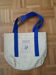 Directors Club X LEHMAN BROTHERS shopper Tote Bag Collectable 1991 beige blue