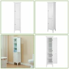 Elegant Home Fashions Sicily Linen Tower with 1 shutter door and 3 shelf- White