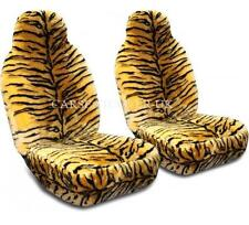 Pair of Furry Gold Tiger Print Car Seat Covers - Fits Most Cars
