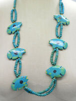 Collectif Fish Teal Wooden Bead Beaded Hand Painted Necklace Vintage