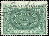 1898 Used Canada F Scott #E1 10c Special Delivery Stamp
