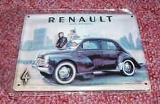 PLAQUE MAGNET METAL COLLECTOR RETRO CAR AUTO VOITURE RENAULT 4CV 4 CHEVAUX RARE