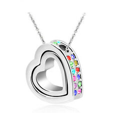 Fashion Women Double Heart Mix Crystal Charm Pendant Chain Necklace Silver BT27