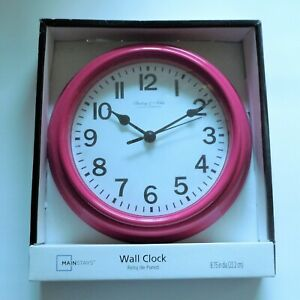 """MAINSTAYS 8.75"""" Wall Clock Sterling & Noble Pink Basic With Glass Lens NIB"""