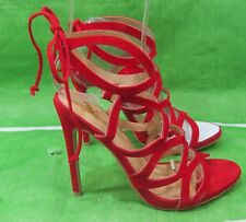 """new Red 5""""High Stiletto Heel Open Toe Lace Up Sexy Shoes Size  6.5"""