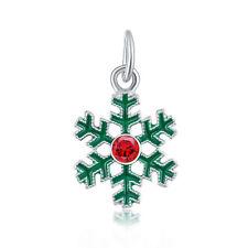2PCS Green Snowflake Charm Beads fit European Silver Bracelet