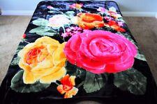 ☀�New 5 Pounds Soft Full / Queen Korean Mink Blanket Plush Green Red Flowers