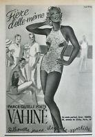 PUBLICITÉ DE PRESSE 1938 LE MAILLOT VAHINÉ SILHOUETTE JEUNE