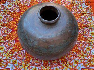 Antique Indian Riveted Steel Hand Beaten Lota Makti Pot Garden Planter Indoor