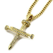 "Mens 14K Gold Plated CZ Nail Cross Pendant Hip-Hop 3mm 27"" Cuban Chain"