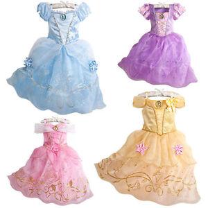 Kids Girls Princess Costume Fairytale Dress Up Belle Cinderella-Aurora Sofia Cos