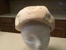 Ladies Vintage Hat Coralie Short Faux Fur Cream Color with Accents Cute!