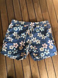 Vilebrequin Swim Shorts Size XXL Blue Pattern with Flower