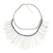 Zest Bead & Silver LOOK Chunky Chain Tassel Drop Necklace Grey