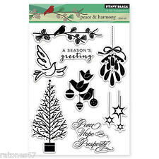 New Penny Black PEACE & HARMONY Clear Stamps Christmas Tree Dove Mistletoe Stars