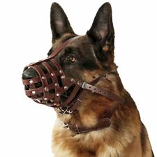 Leather Dog Muzzle German Shepherd Basket Mouth Cover for Medium Large Breeds