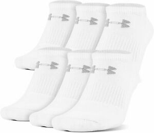Under Armour Adult Charged Cotton 2.0 No Show Socks, 6-Pairs, Men 4-8 Wmns 6-9