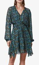 All Saints NICHOLA PLUME Dress In Opal Green. Size S