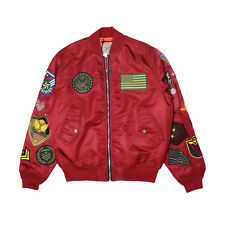 Mens Smoke Rise Bomber Flight Jacket Embroidered Patches Burgundy
