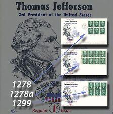US #1278 1278a 1299 JEFFERSONVILLE, IN Jefferson Prominent Americans 1/12/68