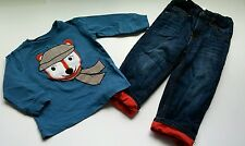 Gymboree Fox Trail Boys Jeans Shirt Size 12-18 Months Adjusters Fleece Denim