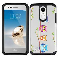 for LG Aristo MS210 (Owls on a branch)Silver Hard/TPU phone case cover